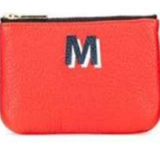"REBECCA MINKOFF LEATHER CORY ""A TO Z"" ZIP POUCH, RED-LETTER M"