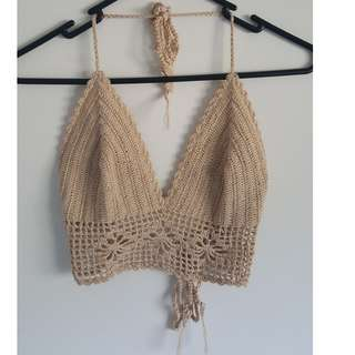 Caramel/Beige Crochet Bralette