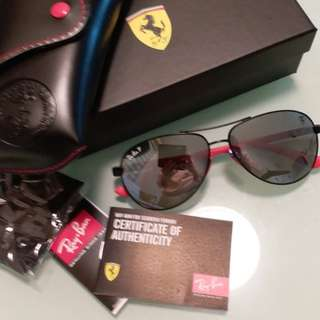 Ray Ban Sunglasses RB 8313 ferrari edition black frame silver polarised lens