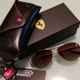 Ray Ban original ferrari edition gold frame light brown polarised lens