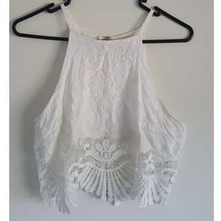White Embroidered and Lace Crop Top