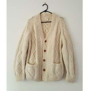 Vintage Cream Wool Cardigan