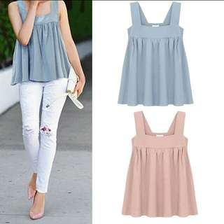 Sleeveless strap solid colour top. PO