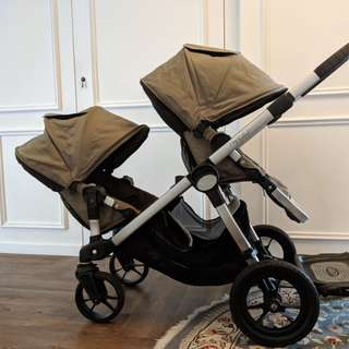 City Select Double Stroller with Glider and Baby Seat - Quartz