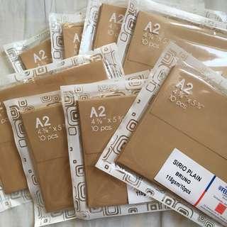 8 Packs (80pcs) A2 Envelopes Kraft color