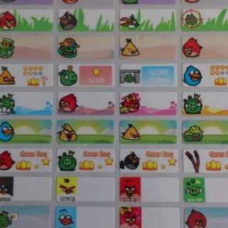 Angry Birds Name Stickers