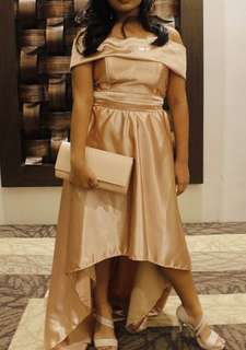 Rose Gold silk high low dress FOR RENT