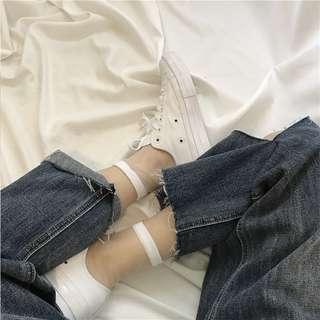 ulzzang WHITE stripe line mesh translucent long socks