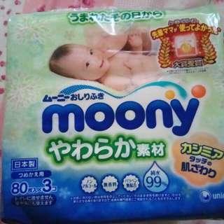 Moony 濕紙巾 80*3 日本製 滿意寶寶
