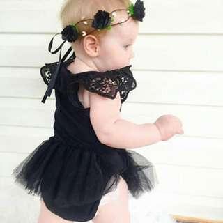 Elegant Black Romper Tutu Dress