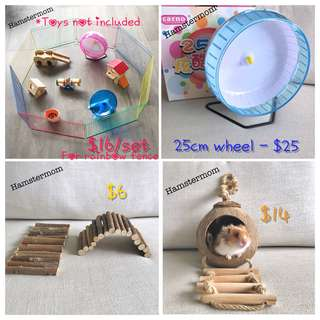 [Restocked!] Popular Hamster Rainbow Playpen Wheel Wooden Bendy Bridge Coconut