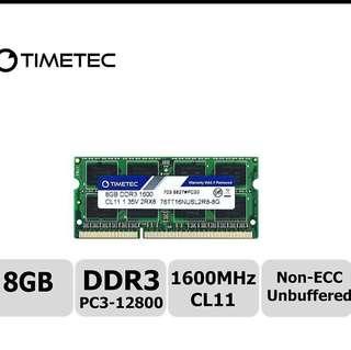 (BN Lifetime Warranty) Timetec Hynix 8GB ram DDR3 1600 (laptop)