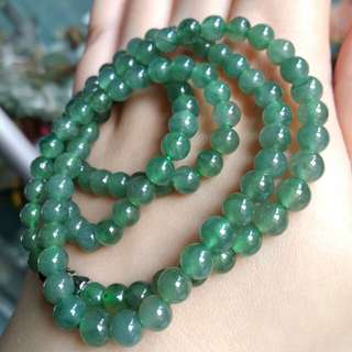 🎋$88 Fixed Price Promo - Grade A Icy Green 圆圆满满 Jadeite Jade Beads Necklace🎋