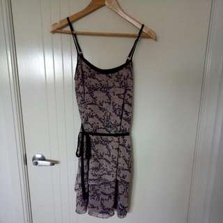 Pink And Black Snake Print Mesh Spaghetti Strap Dress With Fabric Belt Waist Tie