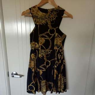 Navy And Gold Sailor Print Short Dress