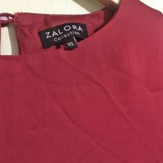 Red block dress 3/4 sleeves