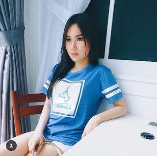 Blue printed tee
