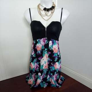 Bardot Black And Floral Print Spaghetti Singlet Short Dress