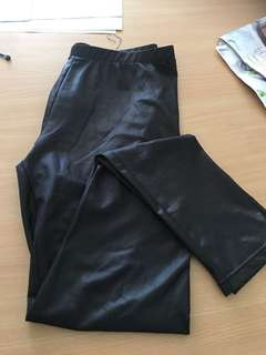 Large leather look tights