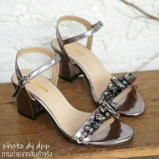 Crystal shiny ankle's strap shoes