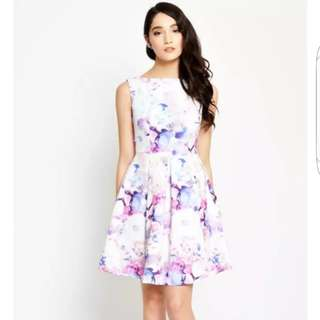 Love and Bravery Boat Neck Floral Skater Dress | Brand New Condition | Stylish Fashionable Trendy Nice Gorgeous Latest Japanese & korean Style | Best Woman Fashion | Singapore  No.1 blogshop