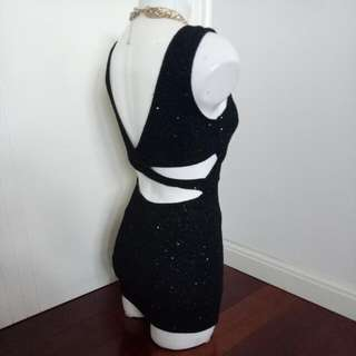 Sparkling Black And Silver Glitter Fitting Short Party / Clubbing Dress