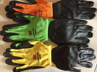 3M gloves (orange green yellow)