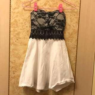 《現貨》蕾絲彈力棉平口洋裝