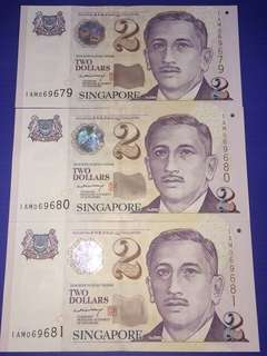 Singapore Portrait Paper $2 LHL Sign $2 Fancy Prefix 1AM + 3Runs+ UNC
