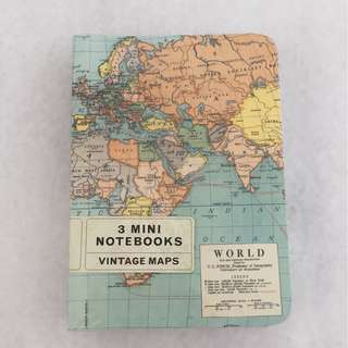 BN Bundle of Cavallini and Co 3 Mini Notebooks Vintage Map Collection