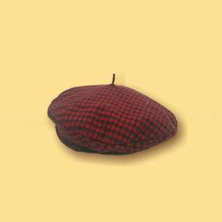 Red and Black Plaid/Gingham Beret