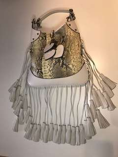 Luella Bartley snakeskin and white leather fringe handbag