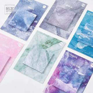 [PO] Momo creative sticky natural color sky blue starry marble Post it