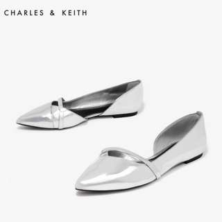 | BRAND NEW | Charles & Keith Silver D'orsay Ballerina Flats