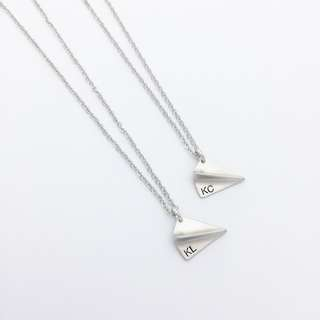 "NL052-R-2D- Minimalist Personalized Necklace Paper Plane Charm Initial Necklace with ""Max 2 Alphabets"" - Matt Rhodium Plated - Made To Order -2 Alphabets - Capital Letter Only-"