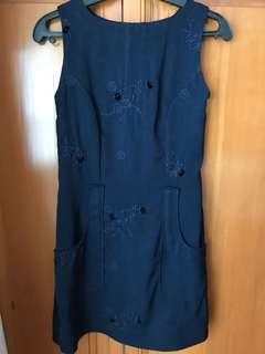 Custom tailored Navy Blue Dress