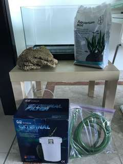 Crystal glass 10gallon fish tank + SunSun filter + extras REDUCED TO CLEAR