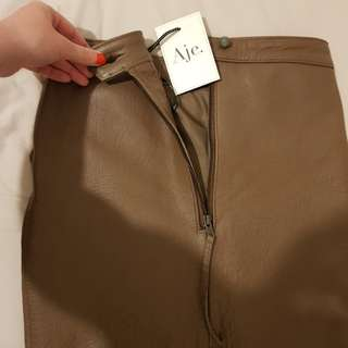Aje skirt size 8 leather parker mini in nutmeg