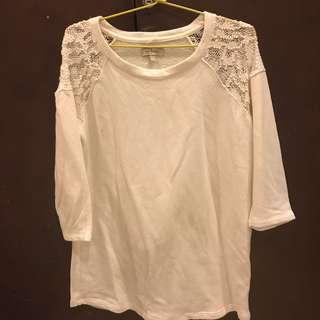 lace shoulders sweater putih zara