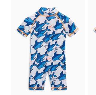 Swimwear White Shark All Over Print Sunsafe Suit