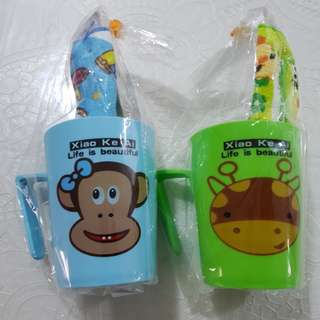 Brand new in packaging tooth brush with toothpaste cup mug set