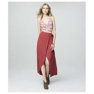 全新 Aeropostale Coral Wrap Maxi Skirt 綁帶大擺半身裙長裙 Hollister A&F American Eagle Topshop H&M