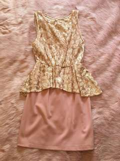 Tokito Pink peplum dress