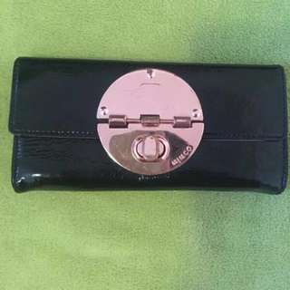 Mimco Black And Rose Gold Turnlock Wallet