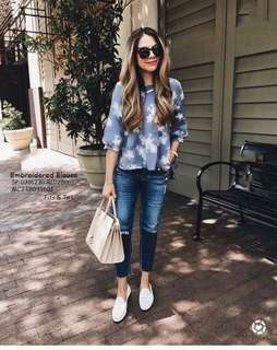 Embroidered blouse fits S-L