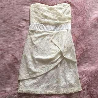 Fancy strapless white dress
