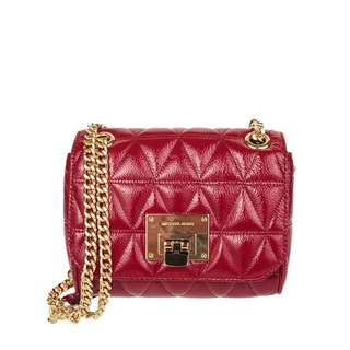 NEW Michael Kors MK Vivianne Patent Glossy Quilted Leather Crossbody Shoulder Bag (Cherry Red)