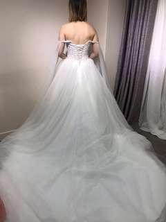 拖尾婚紗 一字肩 wedding dress off shoulder
