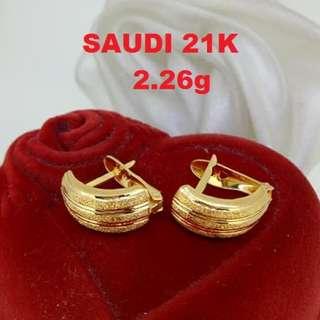 21K SAUDI GOLD EARRINGS ,.,,,