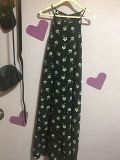 Long black flower dress